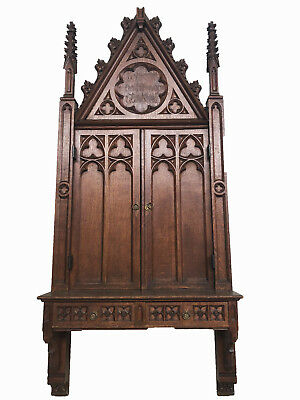 """Unique Antique French Gothic Wall Cabinet, 78"""" Tall, Narrow, Turn of the Century"""