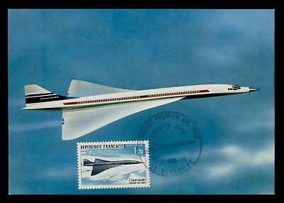 DR WHO 1969 FDC FRANCE MAXIMUM CARD CONCORDE AIRPLANE  d37580