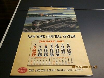 Vintage Original Complete 1952 New York Central System Wall Calendar and Pad-EC