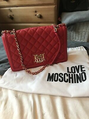 Love Moschino Red Quilted Shoulder Chain Bag