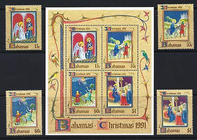 Bahamas 1991 Christmas Issue - MNH Stamps & Sheet - Cat £19.50 - (215)