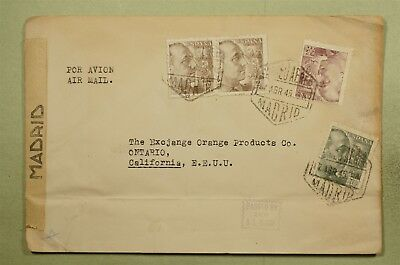 Dr Who 1945 Spain To Usa Multi Franked Censored Air Mail C38835