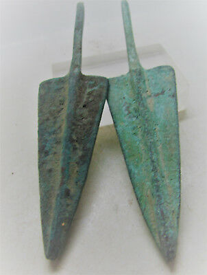 Circa 1200-800Bc Ancient Luristan Finest Set Of Two Arrowheads Battle Relic