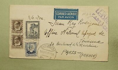 Dr Who 1936 Spain To France Censored Multi Franked Air Mail C38842