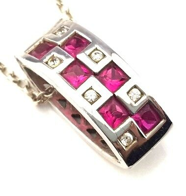 Fine Jewellery Beautiful Sterling Silver Real Cushion Cut Ruby Pendant Necklace
