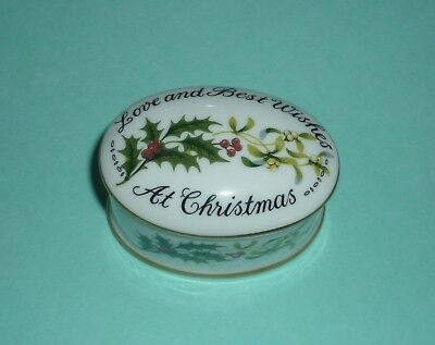 CROWN STAFFORDSHIRE 'LOVE AND BEST WISHES AT CHRISTMAS' TRINKET POT Made England
