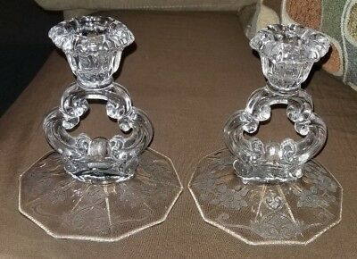 Antique Glass Etiched Candlesticks Pair