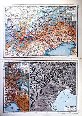 Vintage Antique Original 1920 Map Print Of The Italian & Isonzo & East Front