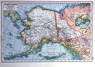 Vintage Antique Original 1920 Print Map Of Alaska & Yukon & Aleutian Islands