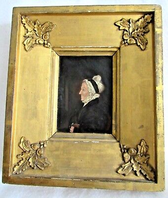 Antique English 18th Oil on Paper Portrait of a Woman with Original Frame