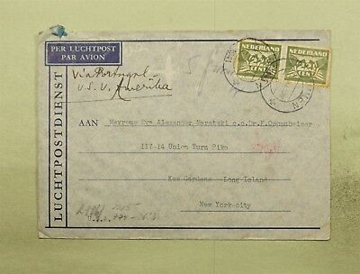DR WHO 1941 OMMEN NETHERLANDS CANCEL AIRMAIL TO USA WWII CENSORED  d37758