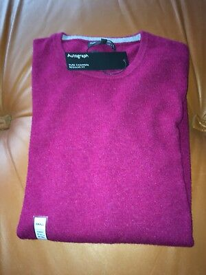 Marks and Spencer Pure Cashmere Burgundy Crew Neck Jumper S
