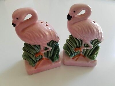 Pair of Vintage Florida Souvenir Flamingo Salt and Pepper Shakers Made in Japan