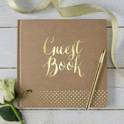 Gold Foiled GUEST BOOK Wedding Christening Keepsake 32 Pages Hardback Luxury