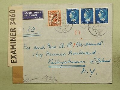 Dr Who 1941 Netherlands To Usa Censored Air Mail C38850