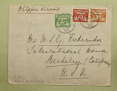 Dr Who 1941 Netherlands To Usa Multi Franked Censored Clipper Air Mail C38852