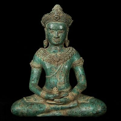 Antique Khmer Style Bronze Seated Meditation Buddha Statue - 34cm/14""