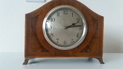 Attractive 8 Day Inlaid Wood Cased Small Mantle Clock. In Good Working Order