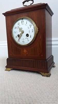 Attractive Edwardian 8 Day Inlaid Wood Cased Mantle Clock.good Working Order