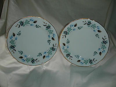 """Two Bone China Colclough """"linden"""" Pattern Lunch/salad Plates"""