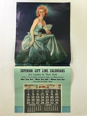 Lg ORIGINAL 1951 PINUP Ed Runci Girl ADVERTISING CALENDAR SALESMAN'S SAMPLE 33""
