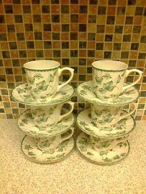 Bhs British Home Stores Country Vine Design 6 X Cups & Saucers Holds 250Ml