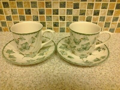 Bhs British Home Stores Country Vine Design 2 X Cups & Saucers Holds 250Ml