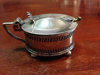 Mappin & Webb London English Silverplated Mustard Pot w/lid & spoon