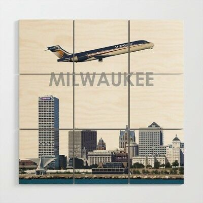 Midwest Express Airlines Boeing 717 over Mileaukee - 3' x 3' Wood Wall Art
