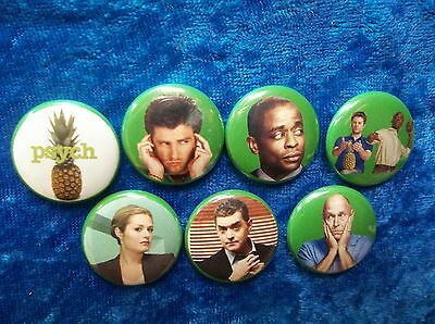 "1"" pinback button set inspired  by ""psych"""