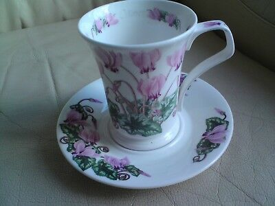 Dunoon Flower of the Month October - Cyclamen Bone China Cup/Mug and Saucer Set