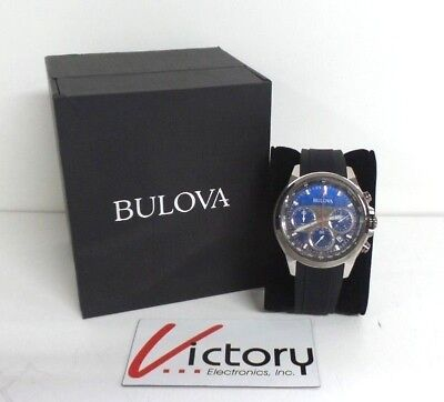 NEW Bulova 98B314 Men's Stainless Steel Chronograph Silver Tone Watch (V190)