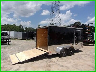 7x14 2ft v black and anodized enclosed cargo motorcycle toy hauler Trailer New
