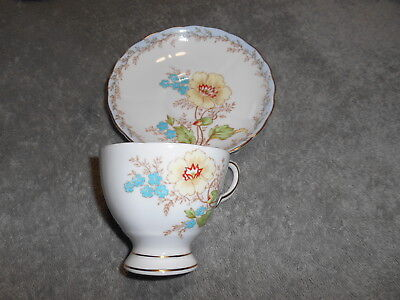 Tea Cup & Saucer - Tuscan Bone China England  With Yellow And Blue Flowers