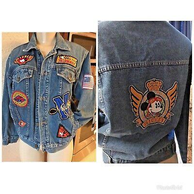 VTG  Mickey & Co. Mickey Mouse Denim Jean Jacket Size  AWESOME PATCHES M/L RARE