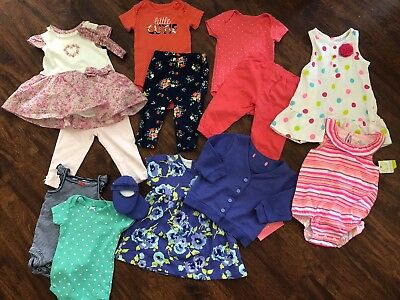 Baby Girl 16 Pcs Lot Summer Dresses Outfits Tops Bottoms Rompers 6 9 Months