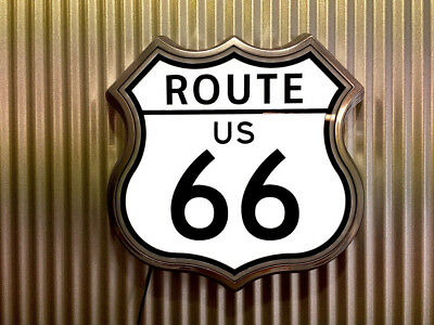 Route 66 US Light Up Retro Sign old chrome led ALL NEW !!!