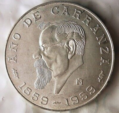 1959 MEXICO 5 PESOS - AU/UNC - RARE ONE Year Type Silver Crown Coin - Lot #814