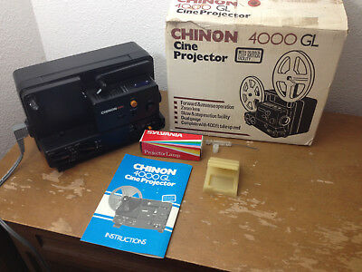 Chinon 4000GL Dual 8 Super 8/Reg 8mm Adjustable Speed Film Projector With Box