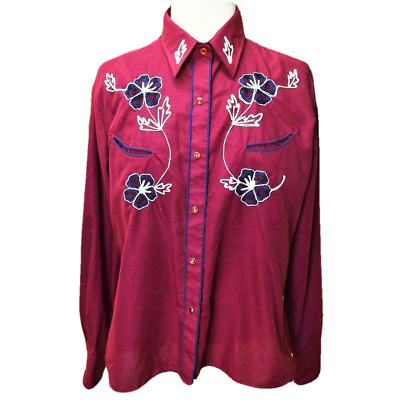 VTG Tem Tex Womens 40 Western Shirt Burgundy Floral Embroidery Snaps Rockabilly