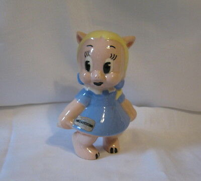 Rare Vintage 1940's Petunia Pig Ceramic Figurine (Porky's Girlfriend) Labeled
