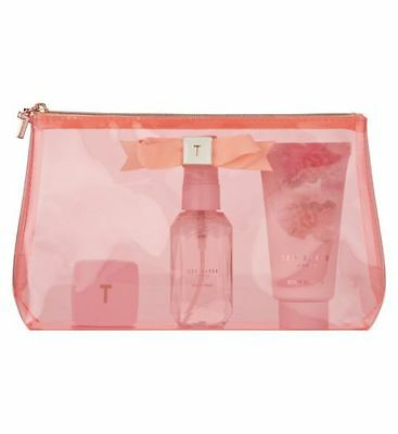 Ted Baker Coral Mini Beauty Bag Gift Set /Lip Balm Body Lotion Body Spray/BNWB