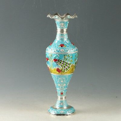 Exquisite Chinese Cloisonne Hand-painted Peacock Vase MY1045