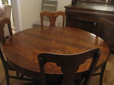 Lowest Price!! Antique 48 Inch American Round Tiger Oak  Dining Table & 2 Leaves