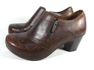 Dansko Nancy Bootie Clog Women size 39/8.5-9 Brown Leather