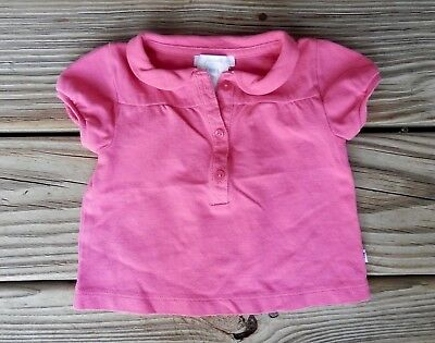 Jacadi Baby Girl Pink 18 Months Peter Pan Collar Henley Top Shirt Short Sleeve