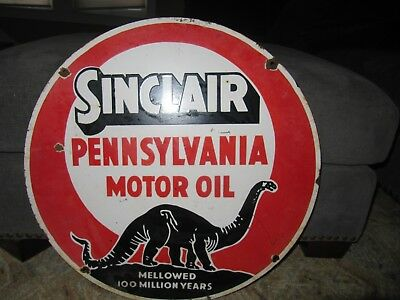 Rare Sinclair Double Sided Porcelain Sign