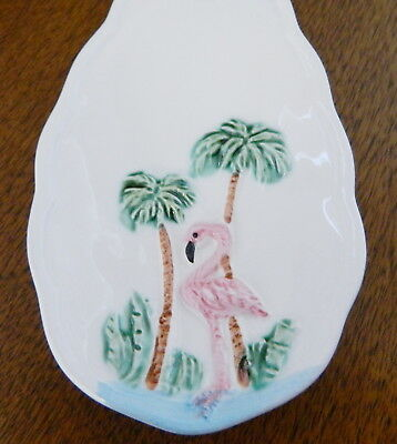 New Vintage Pink Flamingo Palm Trees Florida Spoon Rest Ceramic Great Gift!