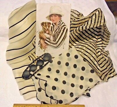 GROUP ANTIQUE SILK FABRIC PIECES B&W w/Harrison Fisher P.C. - great for dolls