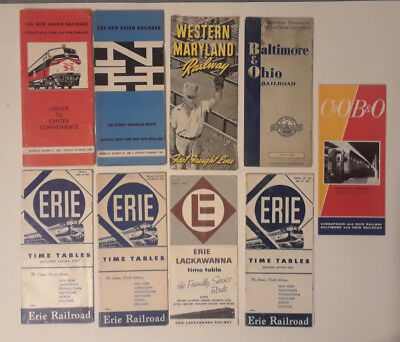 Lot of New Haven, C&O, B&O, Western Maryland, Erie Railroad Timetables